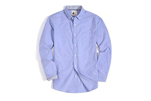 Button Down Regular Fit Long Sleeve Oxford Shirts with Pocket Blue ()