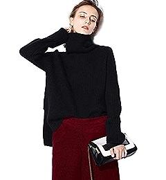 57caa28382a9c Turtleneck Sweater Women Black Oversized Long Sleeve Ribbed Elbow Cardigan  Plus Size Fall 2019 (S