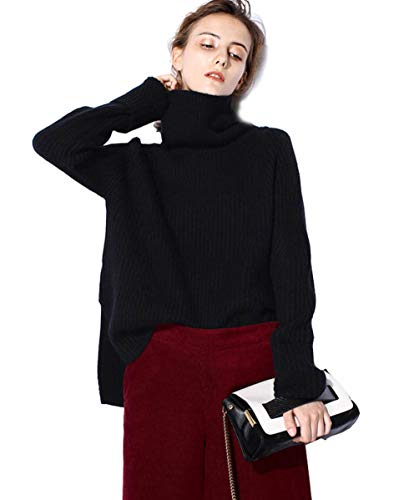 Turtleneck Sweater Women Black Oversized Long Sleeve Ribbed Elbow Cardigan Plus Size Fall 2019 (S, Black)