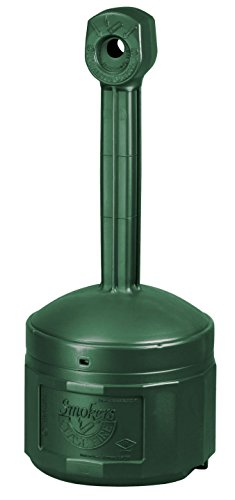 Smokers Urn (Justrite 26800G 16 1/2 X 38 1/2 Forest Green Smokers Cease-Fire Polyethylene Cigarette Butt Receptacle, Plastic, 1