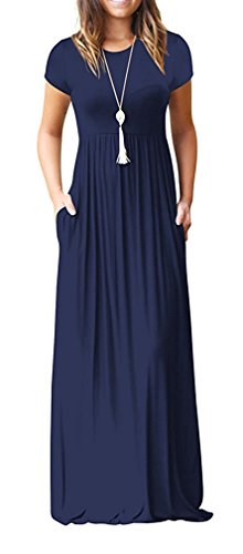Viishow Women's Empire Elastic Waist Long Dresses Casual Plain Short Sleeve Loose Pocket Maxi Dress (Navy Blue, (Blue Soft Dress)