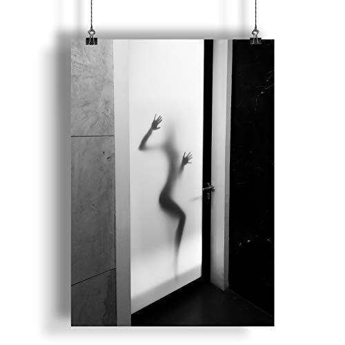 INNOGLEN Silhouette Woman Behind Frosted Glass A0 A1 A2 A3 A4 Satin Photo Poster a659h