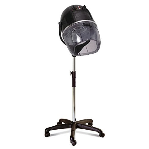Crisnails® Secador de Casco, Procesador de Color Profesional para Peluquería y Salón, Temperatura Máxima a 75ºC, Altura Regulable, Móvil con Ruedas, Color Negro, SC-CM07-NE