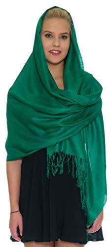- Pashmina Shawls and Wraps - Large Scarfs for Women - Party Bridal Long Fashion Shawl Wrap with Fringe Petal Rose Green
