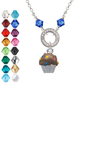 3-D Chocolate Cupcake with Sprinkles Custom Engraved Name Ring Crystal Necklace