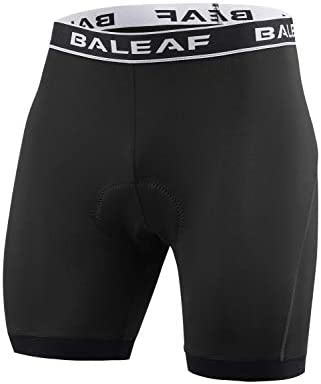 BALEAF Mens Cycling Underwear Bike Shorts 4D Padded Mountain Undershorts Anti-Slip Black Size L