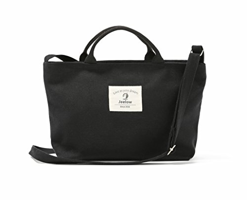 Handbag Or Mini Canvas Crossbody Bag / Purses Small Tote Handbag 2-Way With Adjustable Strap (Small Black) (Small Tote)