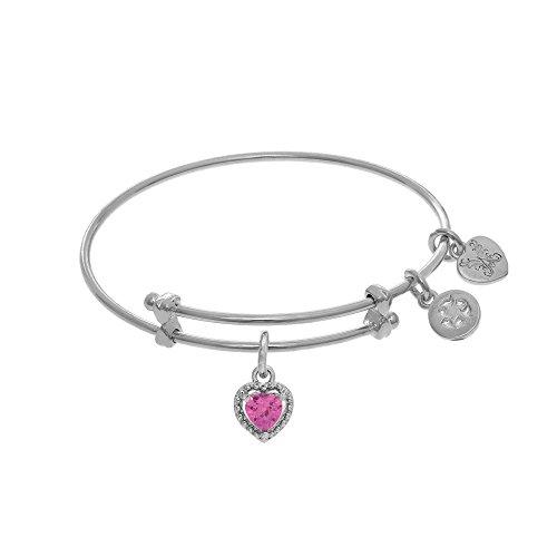 Angelica October Heart Shape CZ Birthstone Charm Expandable Tween Bangle Bracelet -  Angelica Collection, WTGEL9022