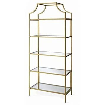 Amazoncom Metal Open Bookcase 5 Tempered Glass Shelves