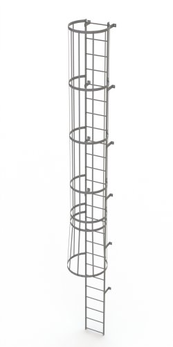 Tri-Arc WLFC1125 25-Rung Standard Fixed Steel Ladder with Cage