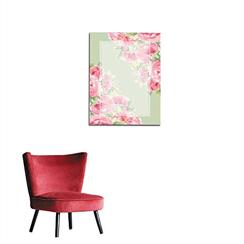 Wall Sticker Decals Watercolor Pink Tea Rose Peony Flower Floral Composition Frame Border Temple Background Mural 32