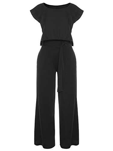 VLUNT Women's 2 Pieces Jumpsuits Outfit Crop Top Wide Leg Pants with Belt (Black, S) by VLUNT