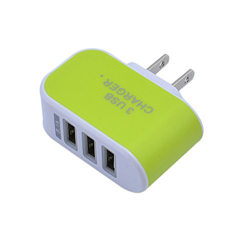 ❤️Gmgod❤️3.1A Triple USB Port Wall Home Travel AC Charger Adapter for US Plug (Green)