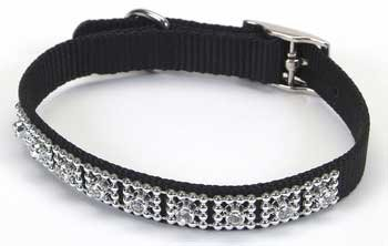 Jeweled Dog Collar - 14 in. Black with Swarovski Crystal Jewels with a Width of 5/8 in.