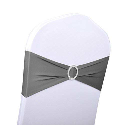 EMART 12pcs Polyester Spandex Banquet Wedding Party Chair Sashes Bows Elastic Chair Bands Buckle Slider Sashes Bow (Dark ()
