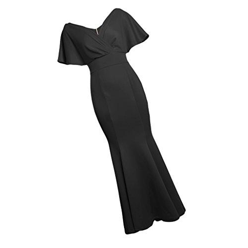 l Novia Noche Vestido Mujeres Baoblaze Dama Ropa Fiesta Club Honor Nocturna negro Maxi Cena de gFgqCw6Y