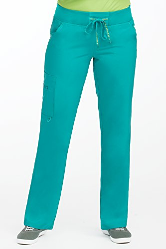 Med Couture Scrub Pants Women, Yoga Cargo Pocket Scrub Pant, X-Small Tall, Real Teal -