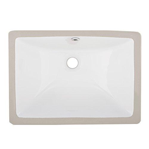 VAPSINT Rectangular Porcelain Undermount White Ceramic Art Basin Bathroom Sink, Vanity Sink with Overflow by VAPSINT