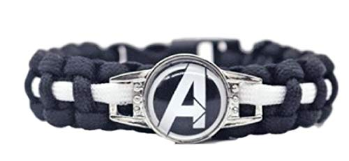 New Horizons Production Marvel's Super Heroes Glass Domed Braided Leather Bracelet (Avengers Logo)]()