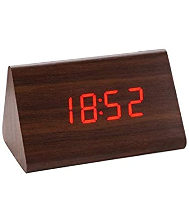 Brando Triangle Wooden Digital LED Desk Alarm Clock with Sound Sensor and Temperature Display (Brown)