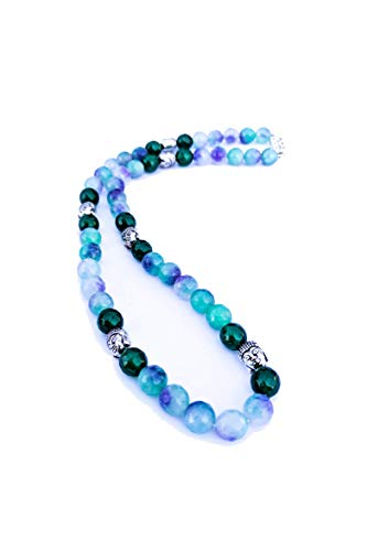 - SP Cube Fashions Multi Shades of Green Onyx Beads and Silver-Tone Beads Necklace for Women