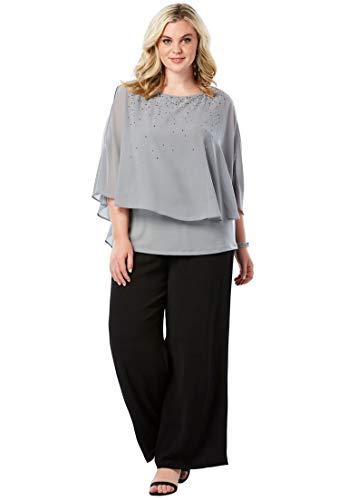 Roamans Womens Pant Suit - Roamans Women's Plus Size Studded Pant Set - Gunmetal, 34 W