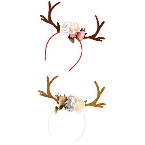 2Pcs Cute Hot Deer Antlers Head Hoop Kids Stylish Christmas DIY Headbands]()