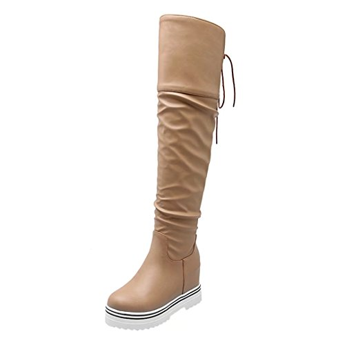 AIYOUMEI Womens Fashion Round Toe Hight Increasing Wedges Autumn Winter Over The Knee Boots Apricot r3SnD