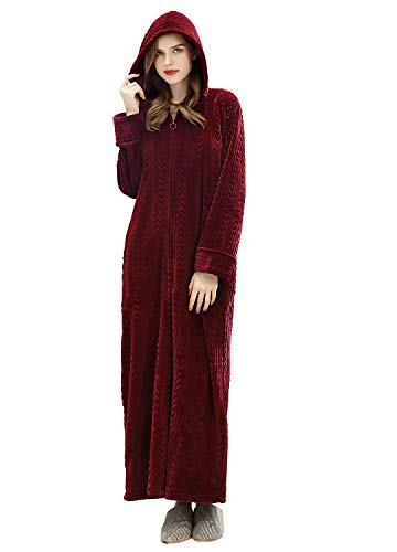 Long Hooded Zipper Bathrobe for Womens Flannel Fleece Robes Winter Warm Housecoat Nightgown Sleepwear Pajamas Wine Red (Flannel Robe Women Zipper)