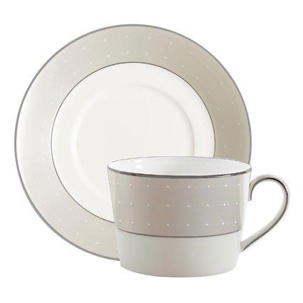 Royal Doulton Monique Lhuillier Étoile Platinum Teacup & Tea (Etoile Platinum Dinnerware)