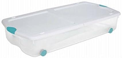 Sterilite 18958004 bajo cama con ruedas con caja de almacenaje, 67 Qt (4 unidades