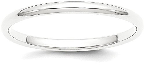 Platinum 2mm Half Round Wedding Ring Band Size 5.50 Classic Domed Fashion Jewelry For Women Gifts For Her