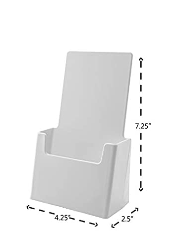 Marketing Holders Tri Fold Holder Tabletop Premium Counter Top Literature Flyers Maps Menu Display Stand Acrylic White Pack of 6