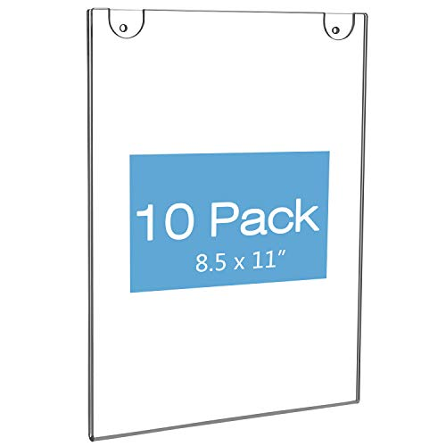 (NIUBEE 10Pack Acrylic Wall Mount Sign Holder 8.5 x 11, Clear Ad Frames for Papers,Bonus with 3M Tape and Mounting Screws)
