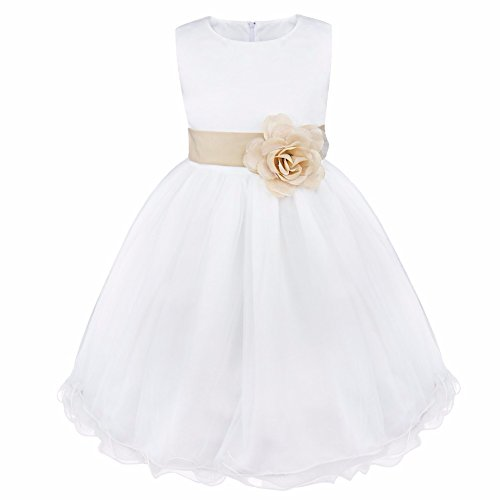 FEESHOW Satin Bodice White Communion Flower Girl Wedding Party Pageant Dress Khaki 5