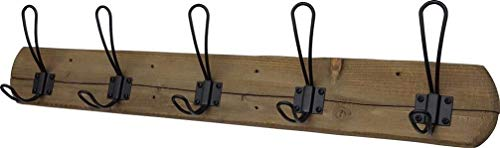 Acacia Grove Rustic Wall Mounted Coat Rack - 5 Black Hooks