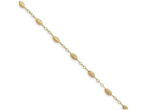 Finejewelers 10 Inch 14k Yellow Gold Puff Rice Bead with 1in Ext Anklet