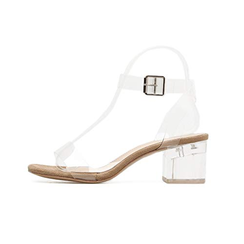 Clearance! YEZIJIN New Women Square Heeled Buckle Strap PVC Transparent Sandals Wedding Shoes Sexy Summer Beach Platform/Wedge/High Heel Sandals Slippers for Girls Ladies 2019