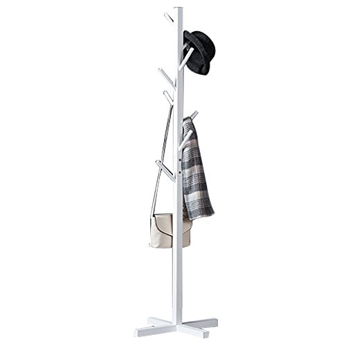 - Premium Wooden Coat Rack Free Standing, with 8 Hooks Lacquered Pine Wood Tree Coat Rack Stand for Coats, Hats, Scarves, Clothes, and Handbags (White)