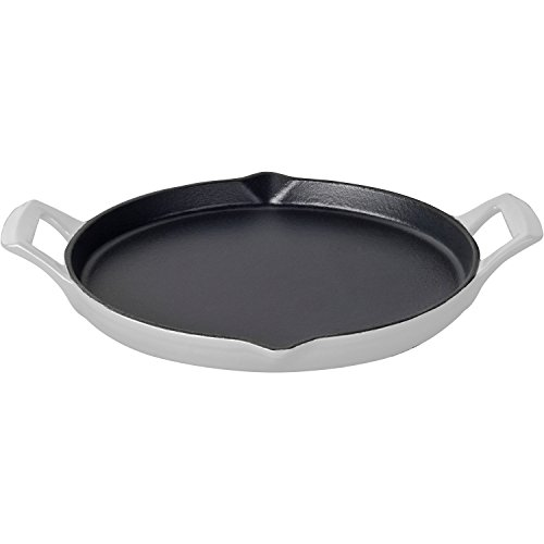 La Cuisine LC 9180 Round 12 In. Cast Iron Shallow Griddle with 2 Wedge Handles and Enamel Finish, ()
