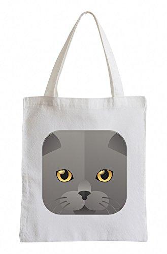 Raxxpurl Icona del gatto grigio Fun sacchetto di iuta