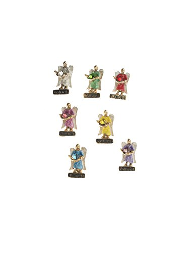 1 inch (2.5cm) Seven Archangels with Cristal Mini Statue Set Angel Figures Weekly Protection