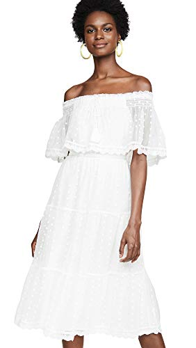 cupcakes and cashmere Women's Contessa Embroidered mesh Off The Shoulder midi Dress, Marshmallow, Small