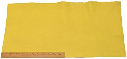 Upholstery Leather Piece Cowhide Yellow Light Weight 2 Square Feet 12 x 24