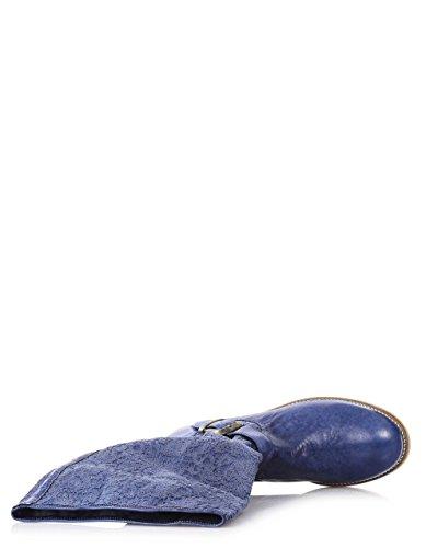Twin Set Blaue Stiefel Aus Leder, Dekorationen Aus Spitze, Mädchen-30