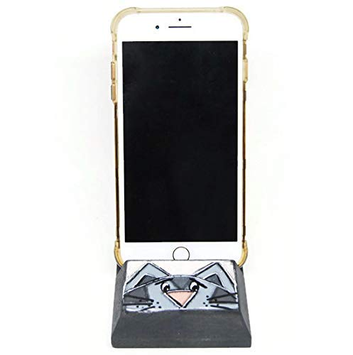 Phone Docking station – Support of mobile phone with grey cat – Support mobile phone with cat