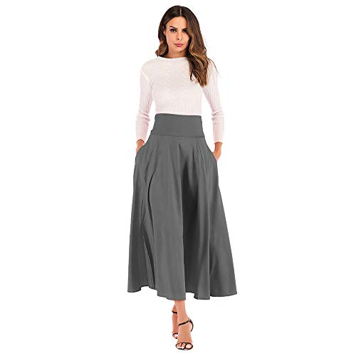 Xinantime Women's High Waist Side Split Skirt, Belt Summer Party Retro A-Line Joker Pocket Skirt Dark Grey ()