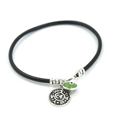 Livelihood & Business Success Solomon Seal with Evil Eye Charm on Leather Bracelet for Men