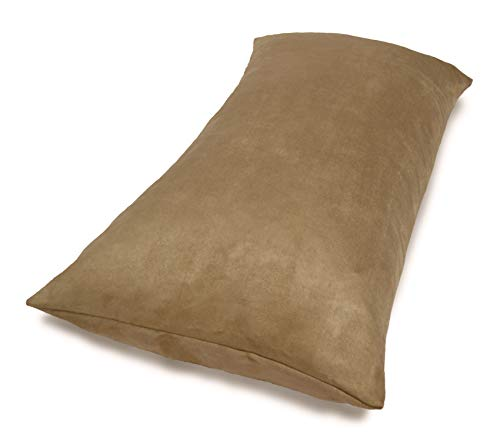 (Aiking Home Collection Creative Luxury Faux Suede Body Pillow Cover with Hidden Zipper 20 by 54, Sand )
