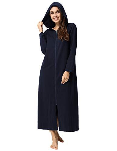 Robes for Women Bridal Plus Size Pajama Comfy Zipper House Wear Navy Blue XXL ()